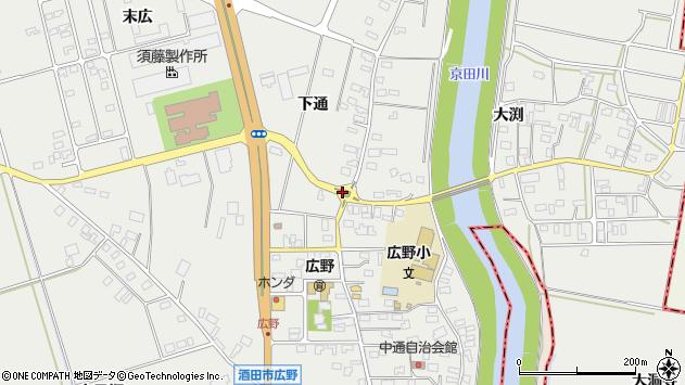 山形県酒田市広野下通97周辺の地図