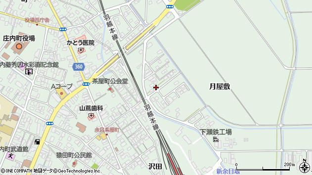 山形県東田川郡庄内町余目月屋敷230周辺の地図