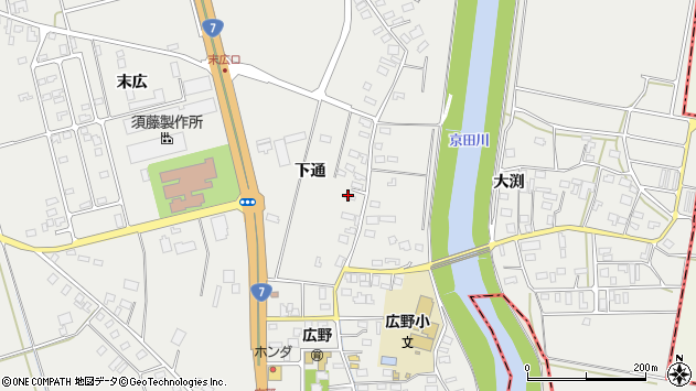 山形県酒田市広野下通109周辺の地図