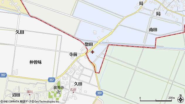 山形県酒田市局惣田22周辺の地図