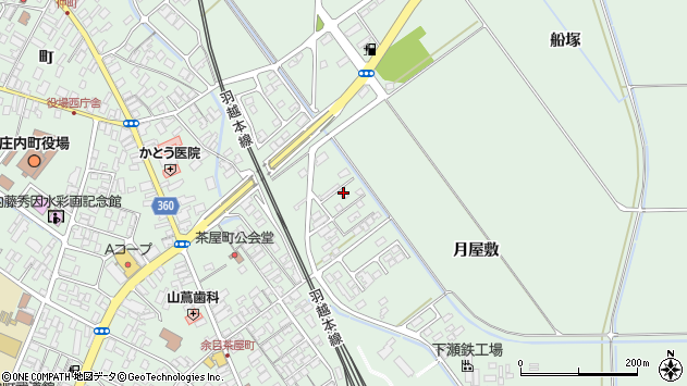 山形県東田川郡庄内町余目月屋敷171周辺の地図