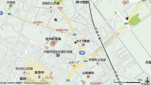 山形県東田川郡庄内町余目町20周辺の地図