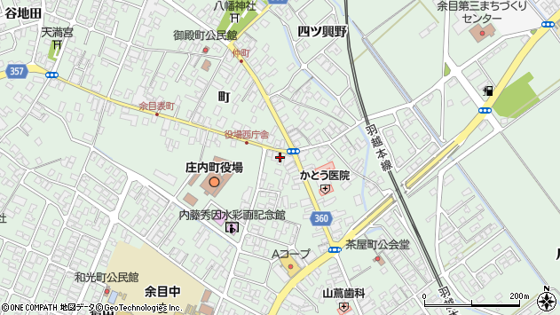 山形県東田川郡庄内町余目町117周辺の地図