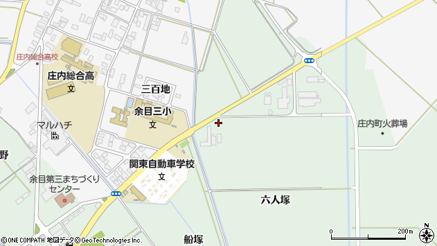 山形県東田川郡庄内町余目六人塚周辺の地図