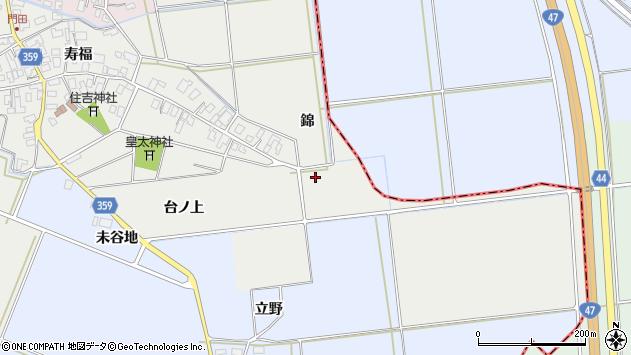 山形県酒田市門田錦周辺の地図