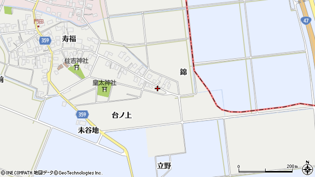 山形県酒田市門田台ノ上37周辺の地図