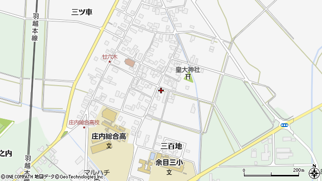 山形県東田川郡庄内町廿六木三百地77周辺の地図