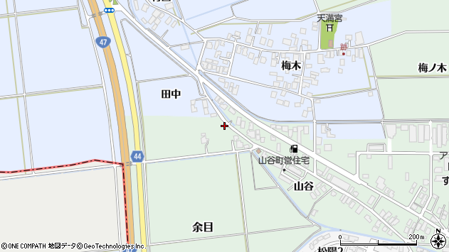 山形県東田川郡庄内町余目山谷73周辺の地図