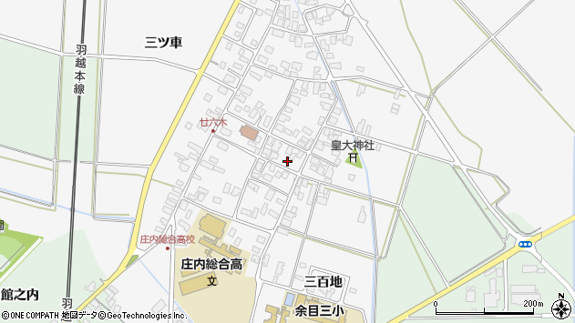 山形県東田川郡庄内町廿六木三ツ車49周辺の地図