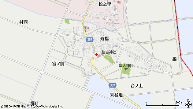 山形県酒田市門田寿福111周辺の地図