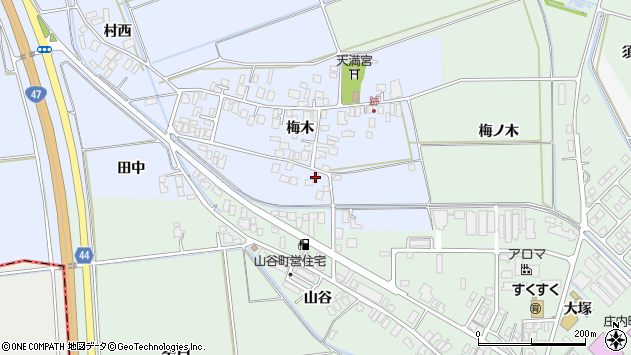 山形県東田川郡庄内町跡梅木74周辺の地図