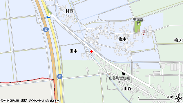 山形県東田川郡庄内町跡梅木37周辺の地図