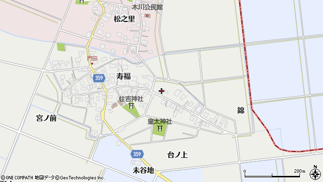山形県酒田市門田寿福86周辺の地図