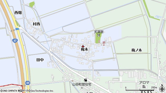 山形県東田川郡庄内町跡梅木77周辺の地図