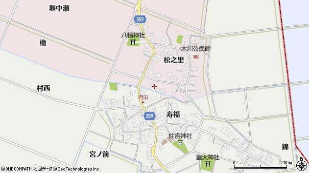 山形県酒田市木川松之里54周辺の地図