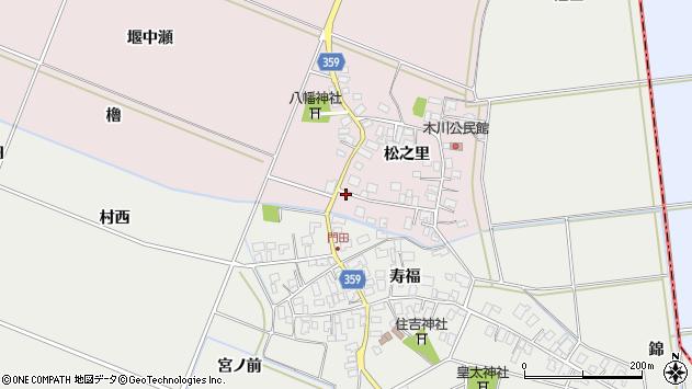 山形県酒田市木川松之里55周辺の地図