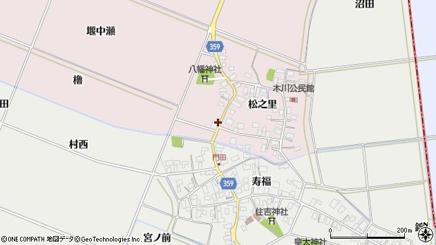 山形県酒田市木川堰中瀬周辺の地図