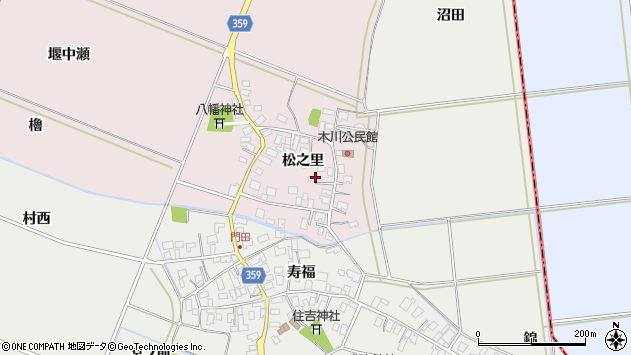 山形県酒田市木川松之里27周辺の地図