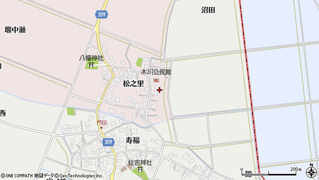 山形県酒田市木川松之里7周辺の地図