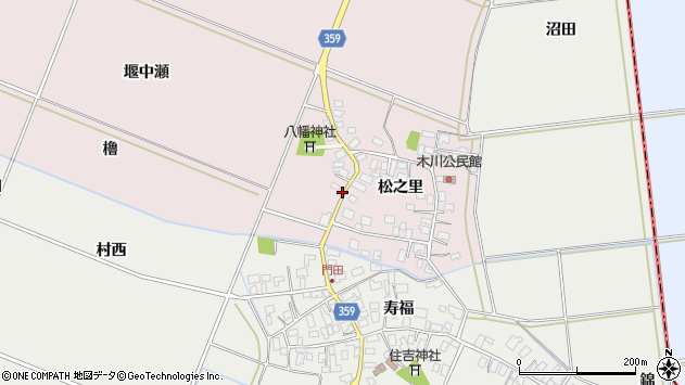 山形県酒田市木川松之里58周辺の地図