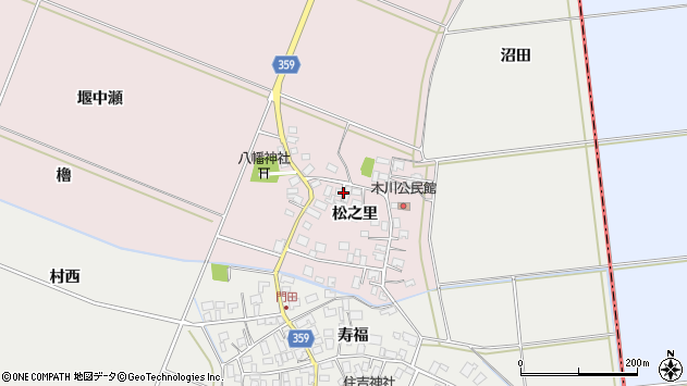 山形県酒田市木川松之里49周辺の地図