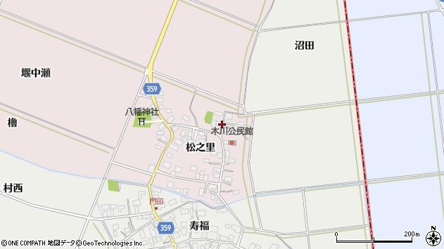 山形県酒田市木川松之里22周辺の地図