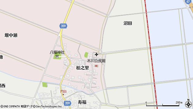 山形県酒田市木川松之里16周辺の地図