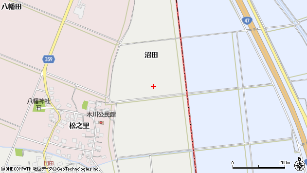 山形県酒田市門田沼田周辺の地図