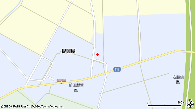 山形県東田川郡庄内町提興屋田尻周辺の地図