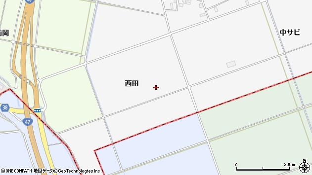 山形県酒田市丸沼西田周辺の地図