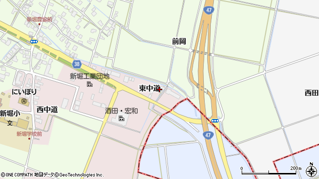 山形県酒田市木川東中道43周辺の地図