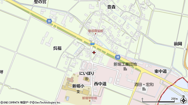 山形県酒田市新堀豊森213周辺の地図