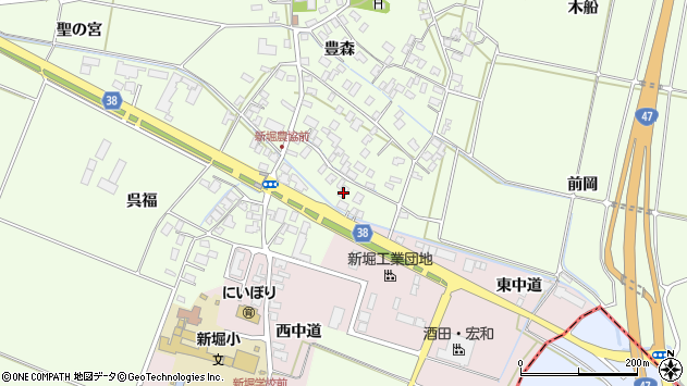 山形県酒田市新堀豊森23周辺の地図