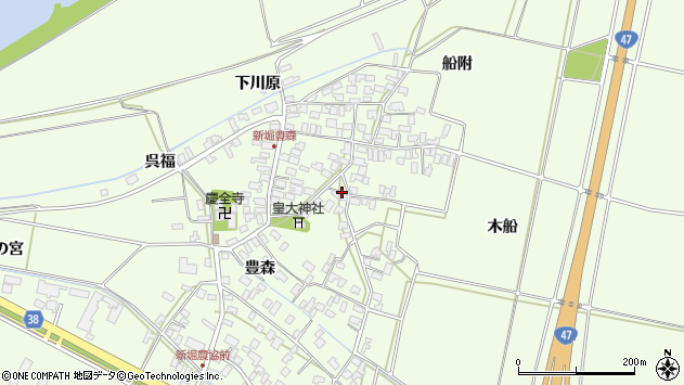 山形県酒田市新堀豊森131周辺の地図