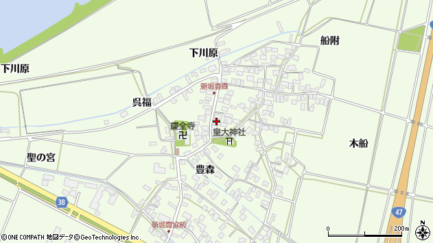 山形県酒田市新堀豊森78周辺の地図