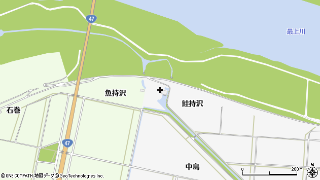 山形県酒田市丸沼鮭持沢周辺の地図