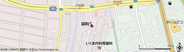 山形県酒田市錦町5丁目周辺の地図
