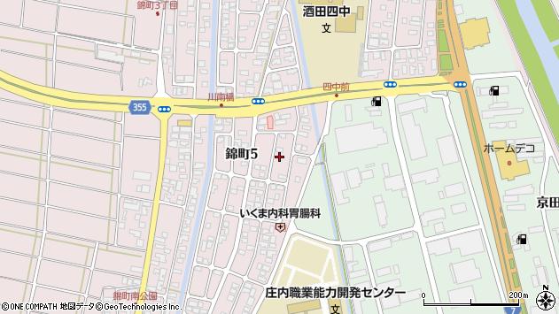 山形県酒田市錦町周辺の地図