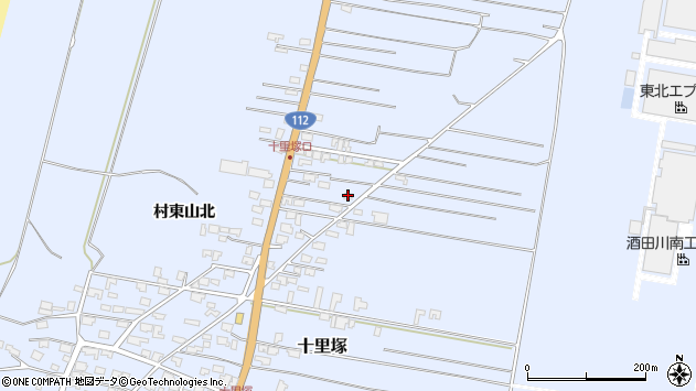山形県酒田市十里塚村東山北71周辺の地図