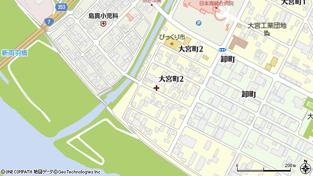 山形県酒田市大宮町2丁目周辺の地図