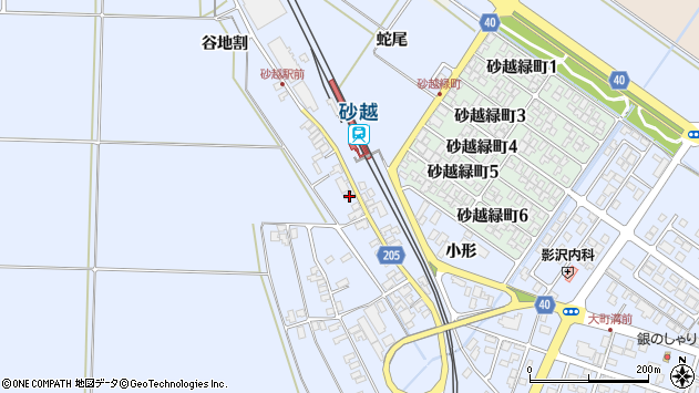 山形県酒田市砂越谷地割137周辺の地図