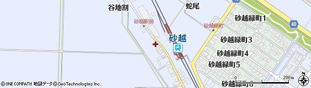 山形県酒田市砂越谷地割周辺の地図