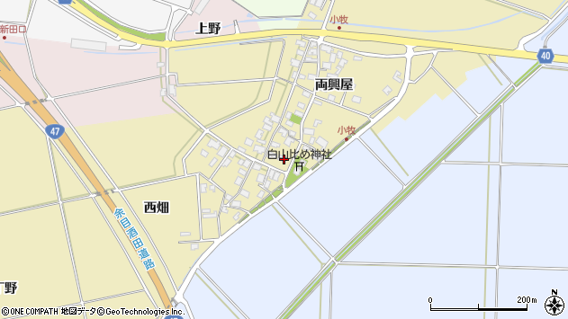 山形県酒田市小牧88周辺の地図
