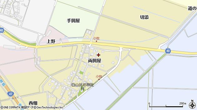山形県酒田市小牧両興屋周辺の地図