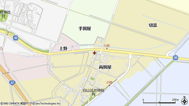 山形県酒田市小牧117周辺の地図