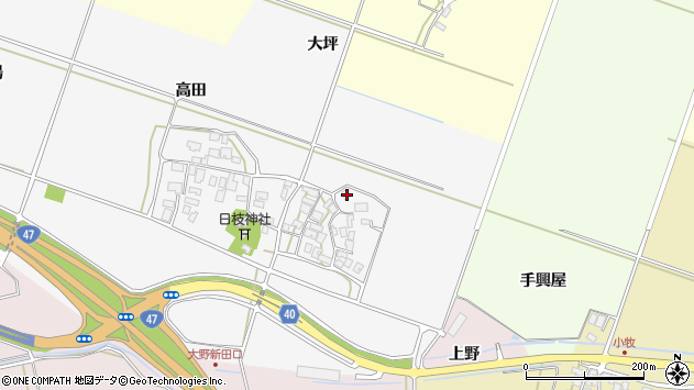 山形県酒田市大野新田村南9周辺の地図