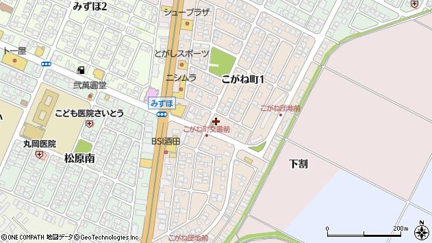 山形県酒田市こがね町周辺の地図