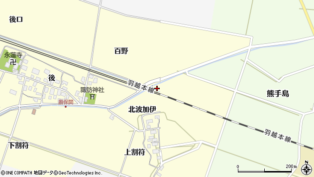 山形県酒田市勝保関北波加伊20周辺の地図