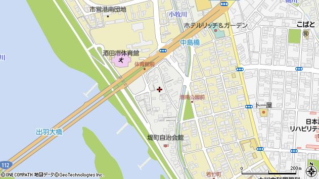 山形県酒田市堤町周辺の地図