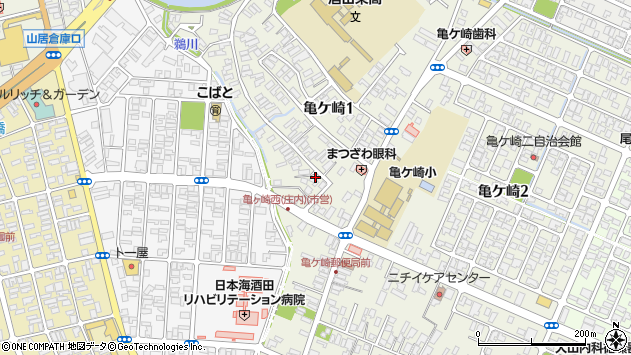 山形県酒田市亀ケ崎1丁目周辺の地図